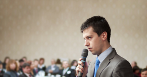 nervous man speaking